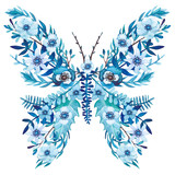 Winter Floral Butterfly with Watercolor Blue Flowers - 181410398