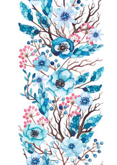 Seamless Border of Watercolor Blue Flowers and Tree Branches