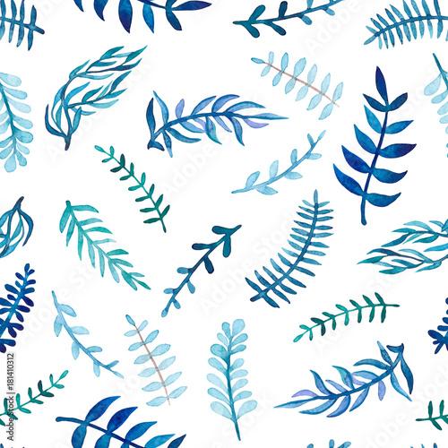 Herbal Seamless Pattern of Watercolor Blue Leaves - 181410312