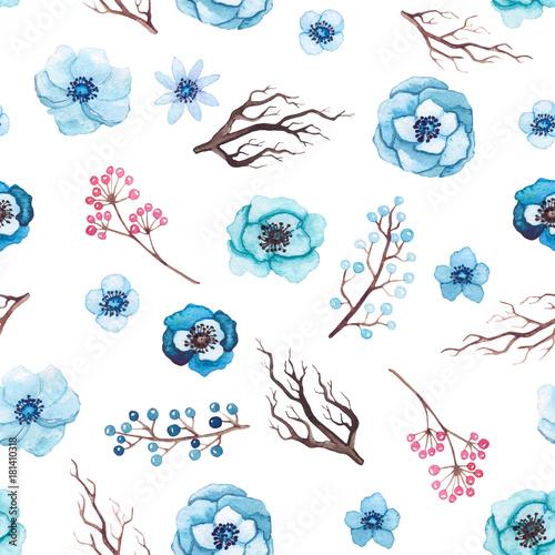 wzor-akwarela-niebieskie-kwiaty-galezie-drzewa-i-jagody