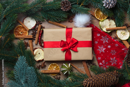 Fototapeta Gift box and Christmas decoration