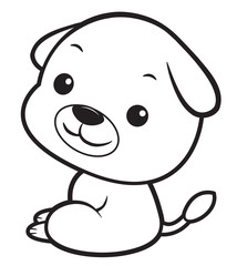 Black And White Dog mascot sits sideways. Asian Zodiac Isolated Puppy Vector Illustration.