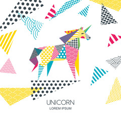 Vector color illustration of unicorn horse with patchwork geometric triangle texture. Creative logo icon or emblem. Design for poster, greeting card, wall decoration sticker, print.