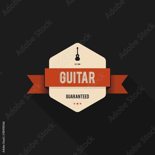 Fototapeta Music badge and label design vintage retro style