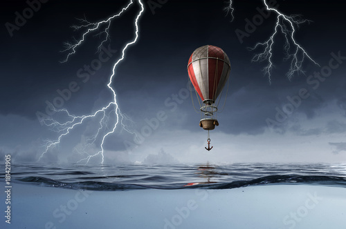 Air balloon in sea
