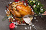 Carving Rustic Style Christmas Turkey - 181422739