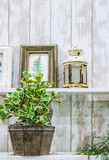 Relaxing area in cozy garden./ Hanging leave pictures in antique wooden picture frame. - 181424365