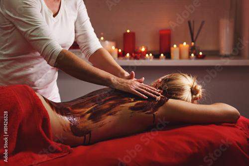 Fotobehang Spa Spa treatment. Massage with moisturizing mask