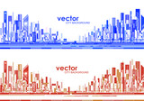 Futuristic City skylines at day and night - 181426534