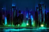 Illuminated night city skyline , vector illustration - 181426718