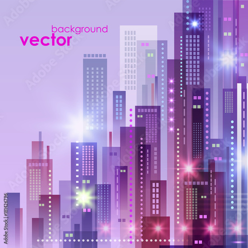 Aluminium Purper Abstract modern cityscape, vector illustration