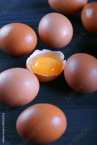 Poster chicken eggs on a blue background