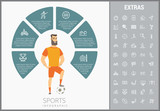 Sports infographic template, elements and icons. Infograph includes customizable circular diagram, line icon set with sport equipment, sports field, competitive games, champion pedestal, athlete etc.