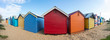 The scenery view of  bathing boxes on Dendy Street Beach, Brighton beach of Melbourne town of Australia with panorama view.