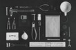 Tools and stationery. Flat lay and top view. Hobby or creativity concept. Photo in black and white