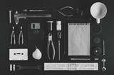 Tools and stationery. Flat lay and top view. Hobby or creativity concept. Photo in black and white - 181433931
