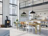modern loft apartment. 3d rendering - 181434911