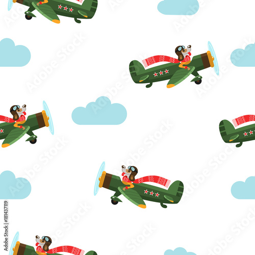 Seamless pattern. The dog is a symbol of 2018 flying on the plane. Christmas background.