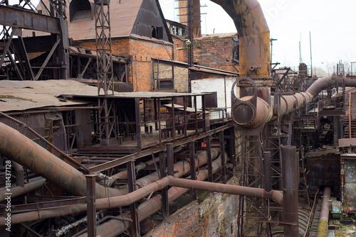 Foto op Canvas Oude verlaten gebouwen Old factory construction