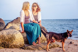 Lesbian family. Two young beautiful women with a dog on the seashore are sitting on the rocks and looking at the landscape