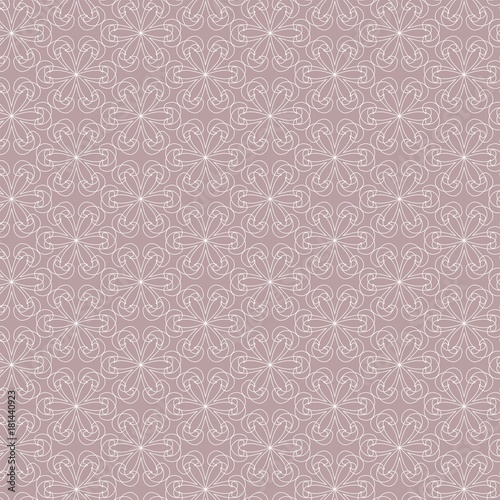 Geometric contour pattern on pink background. Hand drawn organic abstract background. - 181440923