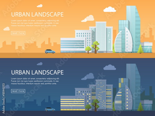 Two web banner modern vector illustration of urban landscape with buildings, shop and stores, transport. Flat city on day and night background.