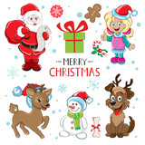 Deer, snowman, snowflakes, a girl and Santa. Christmas elements