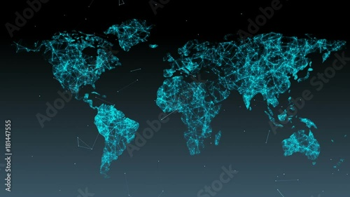Staande foto Wereldkaart Abstract background of world map with particles and plexus.