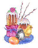 Easter composition from branches of willow, cakes, eggs and chickens, watercolor drawing  isolated on white background.