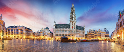 Foto op Canvas Brussel Grand Place in Brussels in night, Belgium