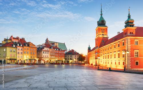 Zdjęcia na płótnie, fototapety na wymiar, obrazy na ścianę : Warsaw Old Town, Plaz Zamkowy, Poland, nobody