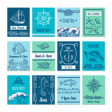 Design template of cards with marine symbols in vector stale. Nautical illustrations with place for your text