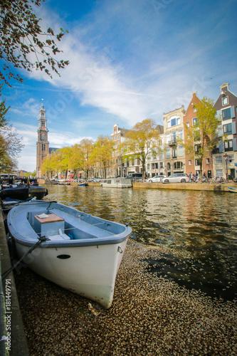 In de dag Amsterdam Canal boat in Amsterdam, Netherlands