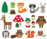 Woodland animals, isolated vector set