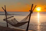 Hängematte am Strand vor dem Sonnenuntergang in Le Morne, Mauritius, Afrika. - 181454327