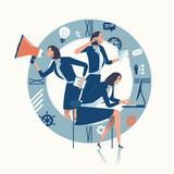 Multitasking. Multi-tasking office worker. Business concept illustration. - 181454580