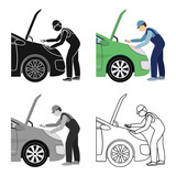 Auto mechanic and adjustment single icon in cartoon,outline,black style for design.Car maintenance station vector symbol stock illustration web. - 181457305