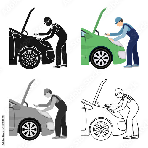 Aluminium Auto Auto mechanic and adjustment single icon in cartoon,outline,black style for design.Car maintenance station vector symbol stock illustration web.