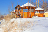 snow covered wooden gazebo - 181461548