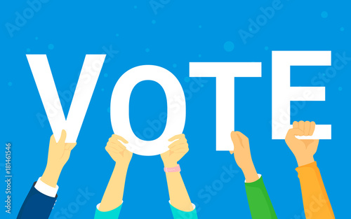 Fototapeta Vote and opinion poll concept vector illustration of young people happy voting. Flat human hands hold vote letters on blue background