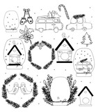 drawing of a single-colored Christmas car attributes with a Christmas tree, ball, snow, wreath, mittens on a white background