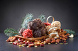 Homemade candy with  nuts and dried fruits.