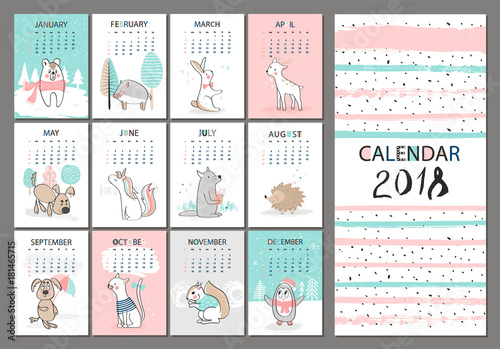 Monthly Creative Calendar 2018 With Cute Animals Concept Vector Vertical Editable Template