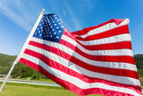 Flag of the United States of America (American flag or The Stars and Stripes, Old Glory, The Star-Spangled Banner) waving in the wind against summer forest landscape in sunny day. - 181466330