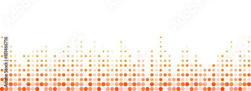 Tiny halftone circles forming volume symbol, abstract banner design.