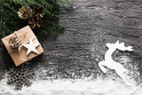 Christmas background with gingerbread, xmas tree and decoration on concrete. - 181469786