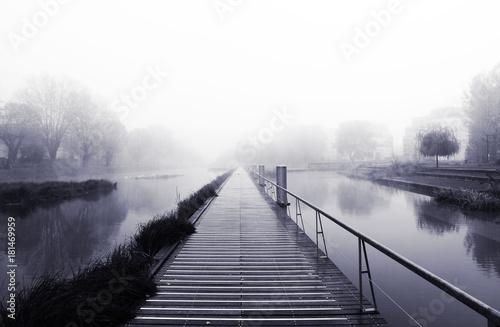 matin brumeux au parc du Heyritz à Strasbourg - 181469959