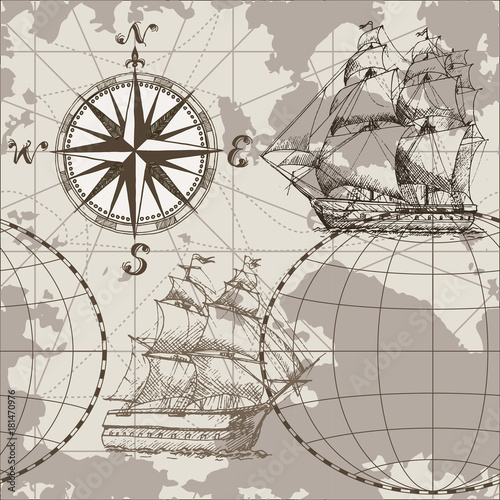 Fototapeta Hand drawn vector seamless sea map with compass and sailing ship. Perfect for textiles, wallpaper and prints.