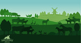 Vector rural landscape with farm animals - 181472927