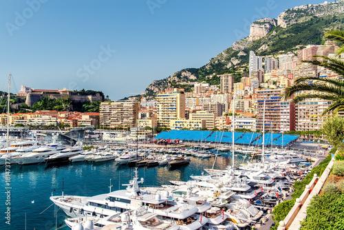 Fototapeta Port in Monaco, luxury yachts in a row